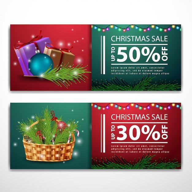 Modelli di banner di natale con regali e cesto di natale Vettore Premium