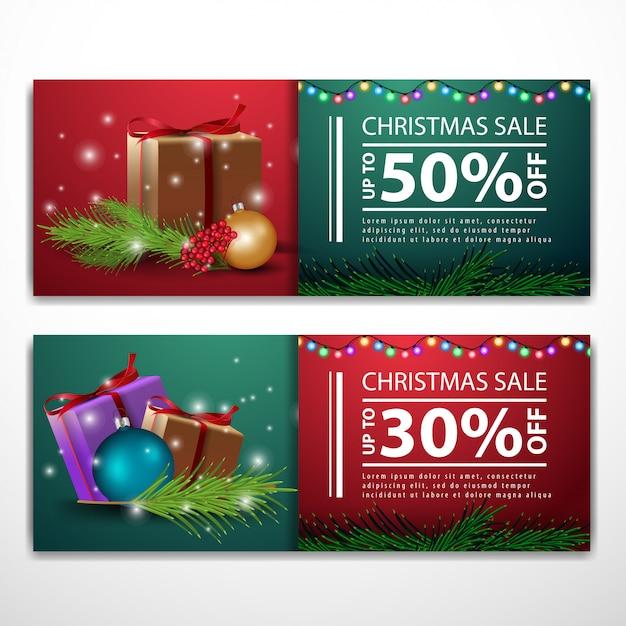 Modelli di banner di natale con regali Vettore Premium