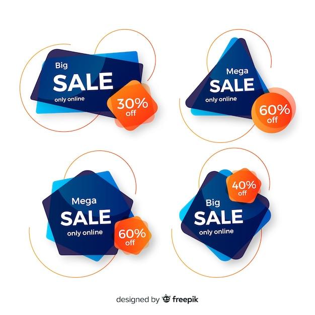 Modelli di banner di vendita con forme astratte Vettore gratuito