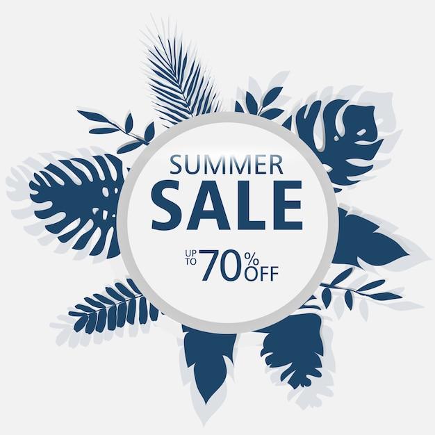Modelli di banner di vendita di estate, cerchio con foglie di palma, foglie di foresta. Vettore Premium