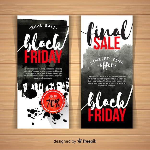 Modelli di banner di vendita venerdì nero con macchie di acquerello Vettore gratuito