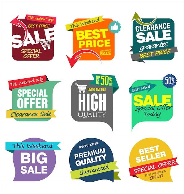 Modelli di banner di vendita Vettore Premium