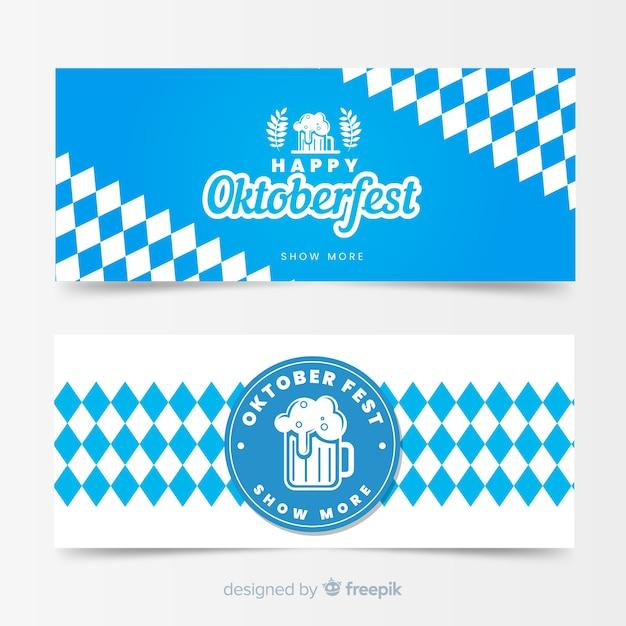 Modelli di banner oktoberfest design piatto Vettore gratuito