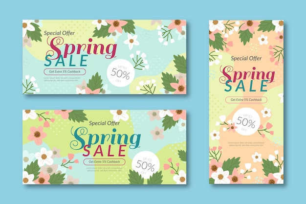 Modelli di banner vendite estive con fiori colorati Vettore gratuito