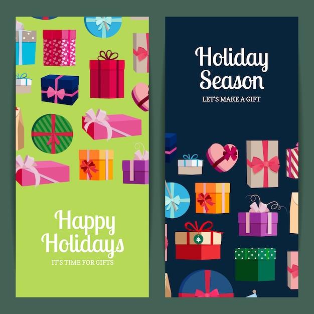 Modelli di banner verticale con scatole regalo e posto per il testo. poster stagione delle vacanze con scatola regalo colorata Vettore Premium