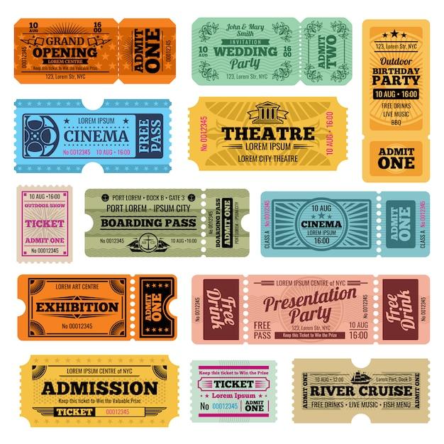 Modelli di biglietti d'ingresso vintage circo, festa e cinema vettoriale Vettore Premium