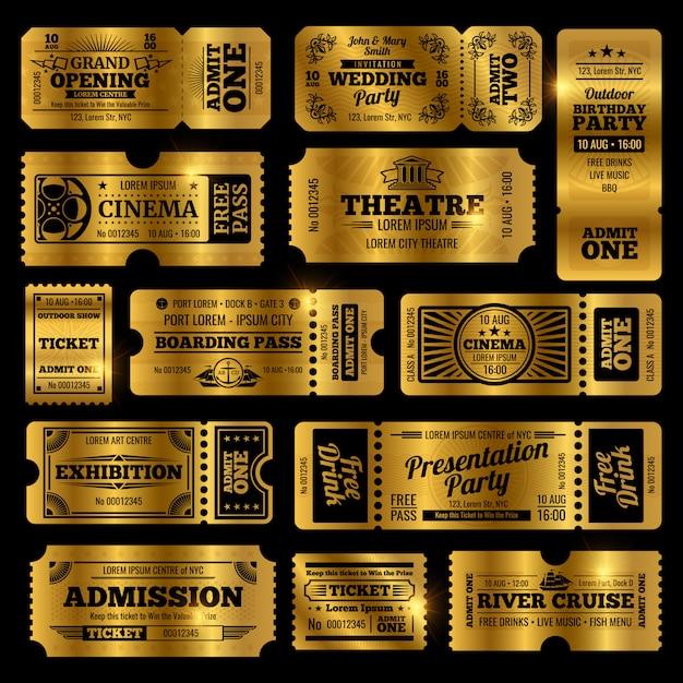 Modelli di biglietti di ingresso vintage di circo, festa e cinema. Vettore Premium