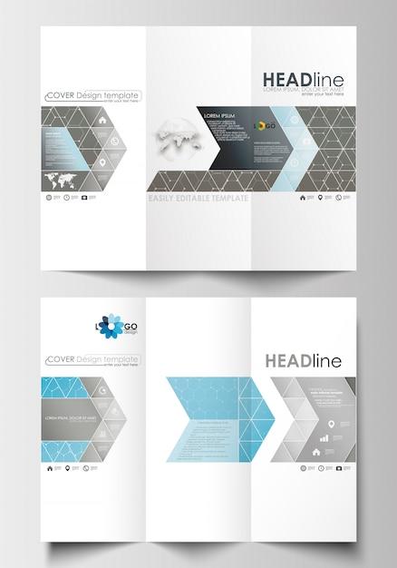 Modelli di business brochure ripiegabili su entrambi i lati. Vettore Premium