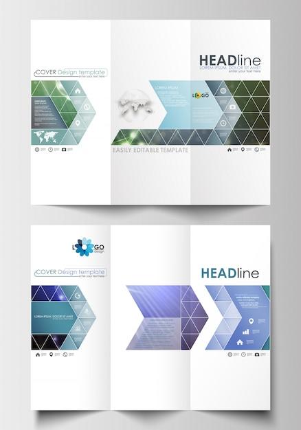Modelli di business brochure ripiegabili su entrambi i lati Vettore Premium