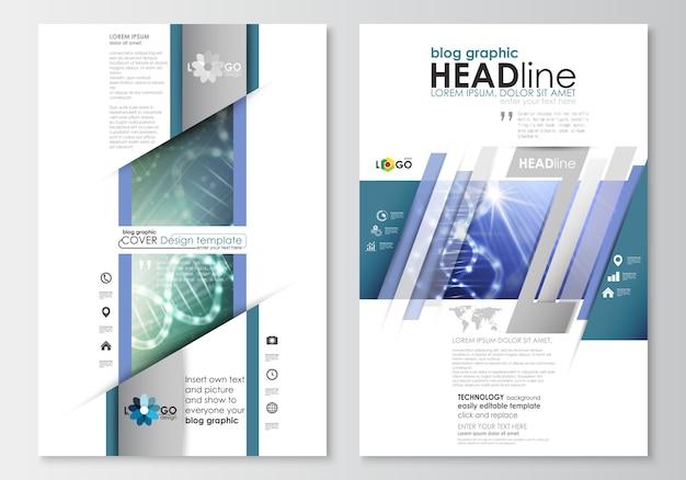 Modelli di business grafici del blog. modello di progettazione del sito web della pagina. struttura della molecola del dna Vettore Premium