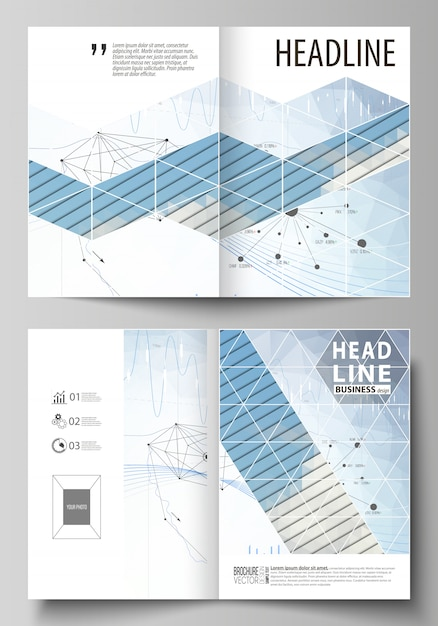 Modelli di business per brochure bi fold, flyer, relazione. Vettore Premium