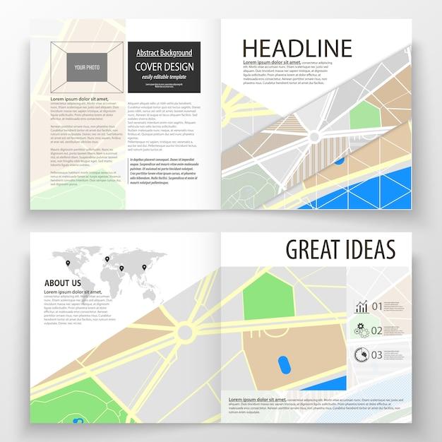 Modelli di business per brochure quadrati bi fold Vettore Premium
