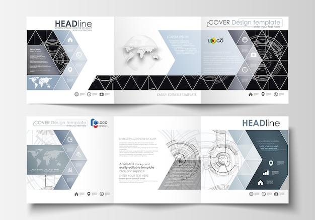 Modelli di business per brochure tri-fold quadrati Vettore Premium