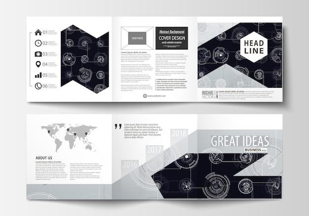 Modelli di business per brochure tri-fold quadrati. Vettore Premium