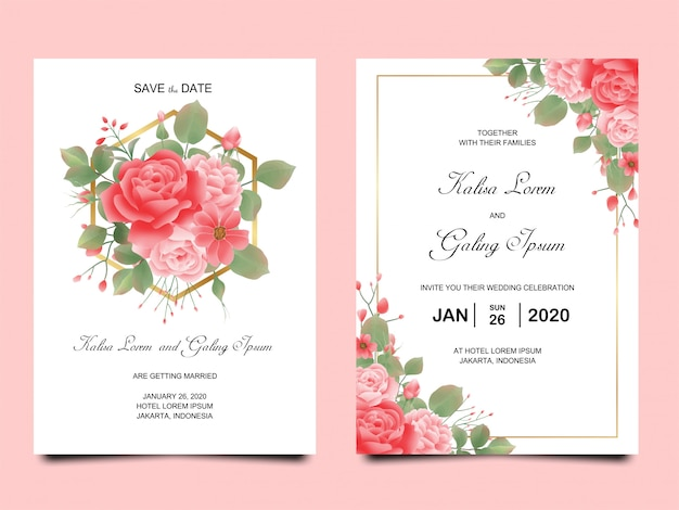 Modelli di carta di invito di nozze con peonie in acquerello Vettore Premium