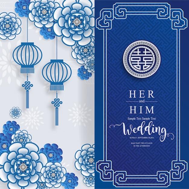 Modelli di carta di invito matrimonio cinese orientale con bella modellato su sfondo di colore di carta. Vettore Premium