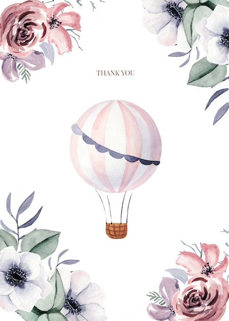 Modelli di carte con fiori e palloncino carino Vettore Premium
