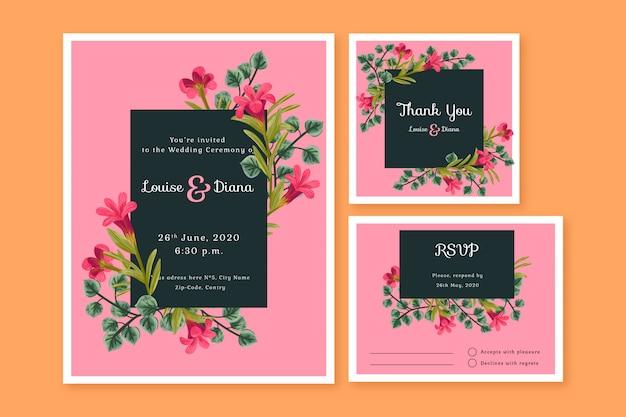 Modelli di carte di cancelleria di nozze Vettore gratuito