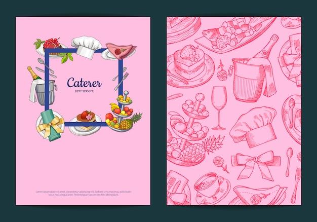 Modelli di carte o volantini con elementi di servizio di sala o ristorante disegnati a mano Vettore Premium