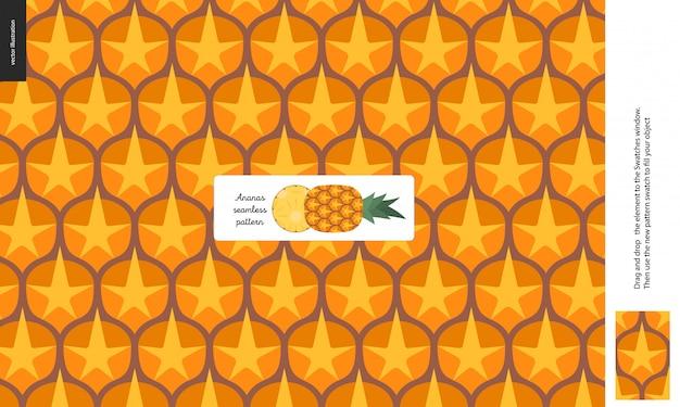 Modelli di cibo - frutta, trama di ananas - un modello senza soluzione di buccia di ananas buccia piena di spine arancioni gialle Vettore Premium