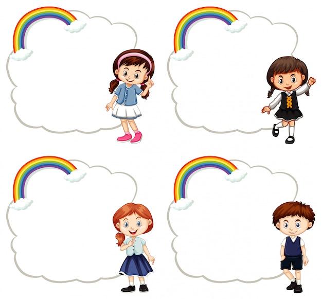 Modelli di cornice con bambini carini Vettore gratuito