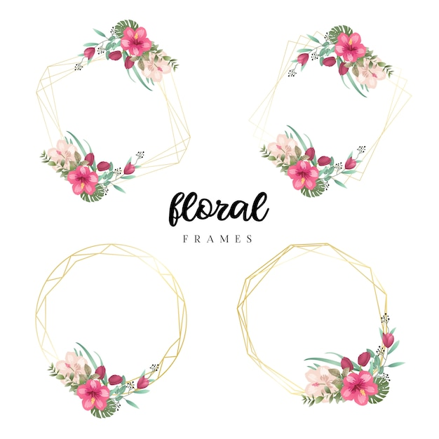 Modelli di cornice floreale dell'acquerello Vettore Premium