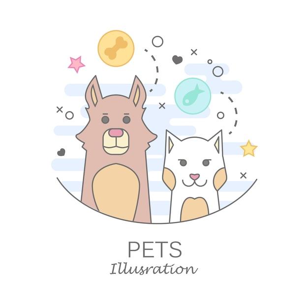 Modelli di design del logo negozio di animali in stile cartoon piatta - cani e gatti amichevoli Vettore gratuito