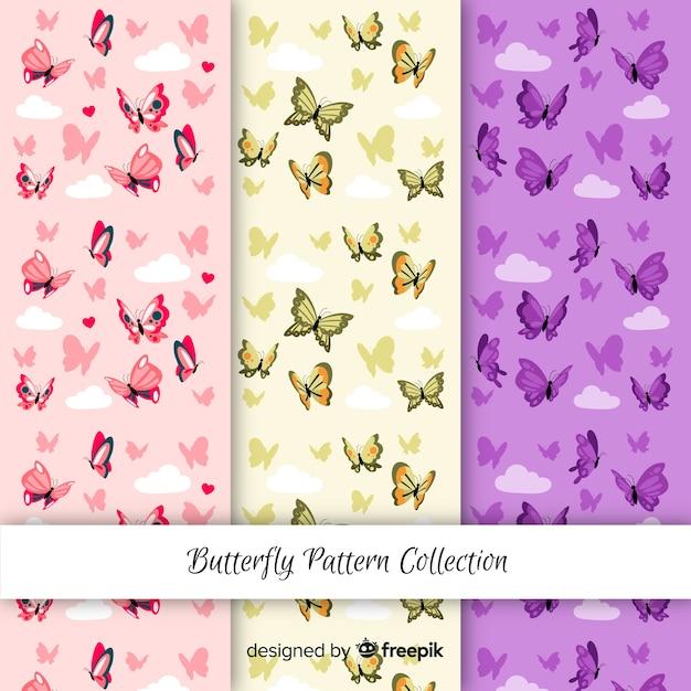 Modelli di farfalle colorate Vettore gratuito