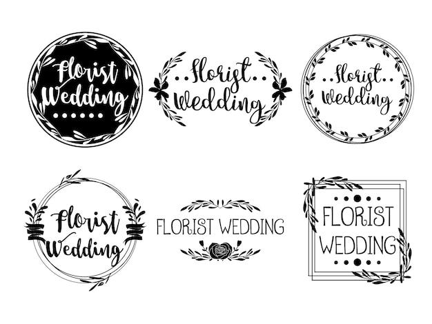 Modelli di fiori femminili logo florist wedding planner Vettore Premium