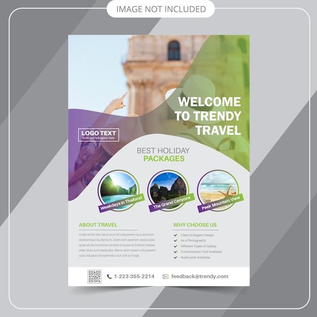 Modelli di flyer di viaggio Vettore Premium