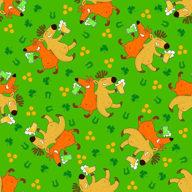 Modelli di giorno di san patrizio con volpi e simboli irlandesi Vettore Premium