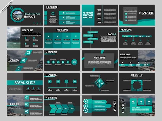 Modelli di infografica per la presentazione di bundle verde Vettore Premium