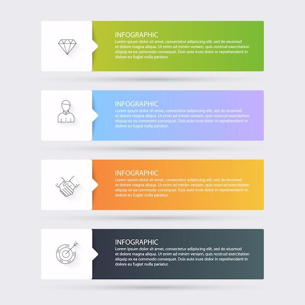 Modelli di infografica per le imprese. può essere utilizzato per il vettore di layout del sito web, banner numerati, diagramma. Vettore Premium