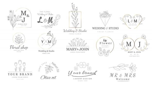 Modelli di logo floreali premium Vettore Premium