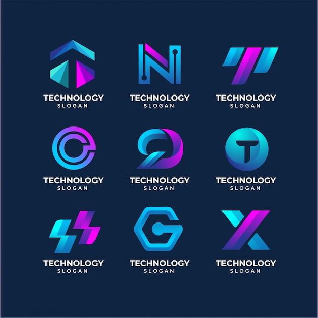 Modelli di logo tecnologia lettera moderna Vettore Premium