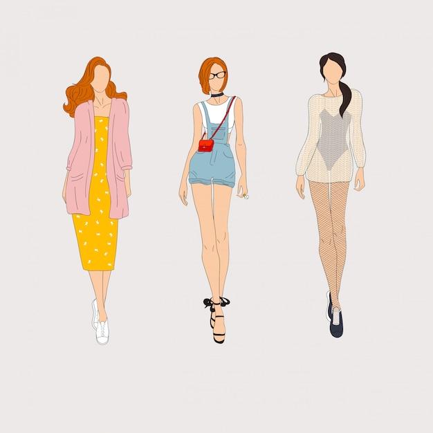 Modelli di moda disegnati a mano. illustrazione. Vettore Premium