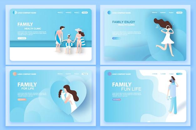 Modelli di pagine web per la clinica della famiglia Vettore Premium