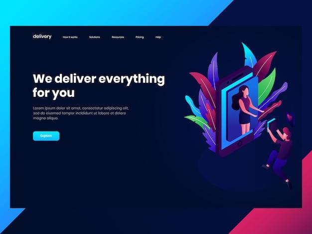 Modelli di pagine web per lo shopping online, qualcuno consegna merci a una donna Vettore Premium