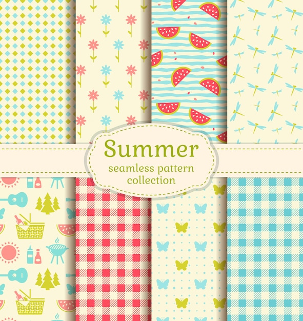 Modelli di picnic estivi. Vettore Premium
