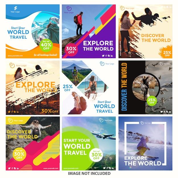 Modelli di post instagram di viaggio Vettore Premium