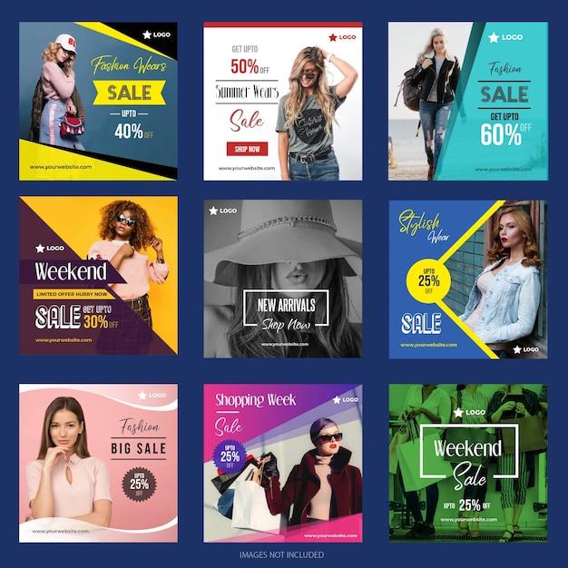 Modelli di post sui social media Vettore Premium