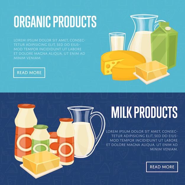 Modelli di siti web di prodotti biologici a base di latte Vettore Premium