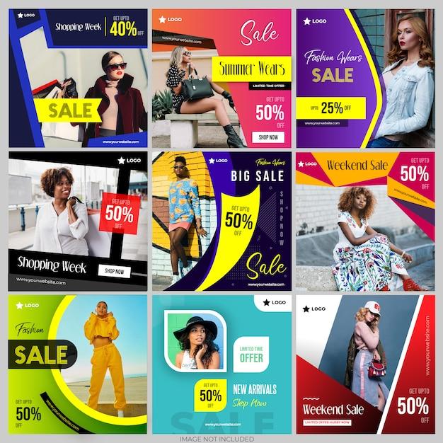 Modelli di social media post per il marketing digitale instagram Vettore Premium