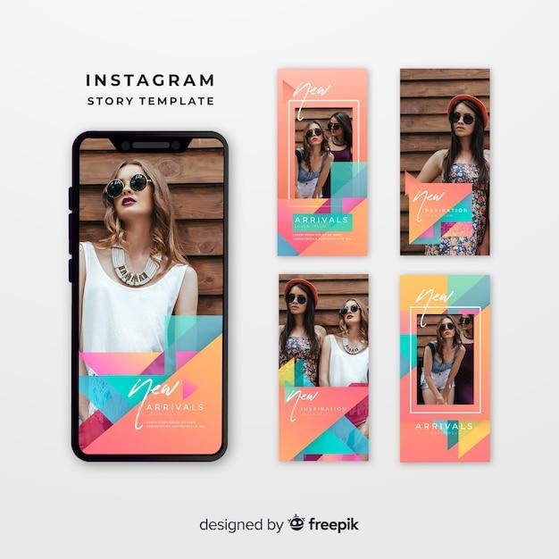 Modelli di storie di instagram colorati Vettore gratuito