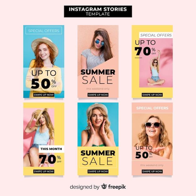 Modelli di storie di vendita estiva di instagram Vettore gratuito