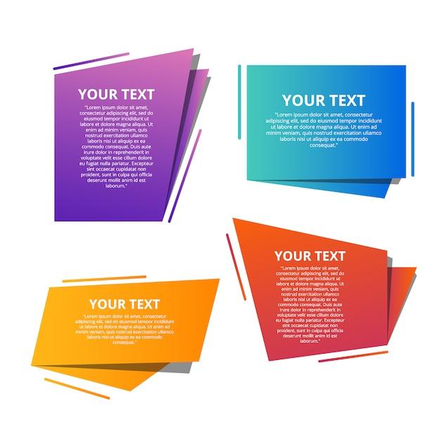 Modelli di testo stile origami per banner Vettore Premium