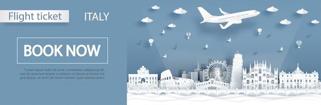 Modelli di volo e prenotazione in italia Vettore Premium