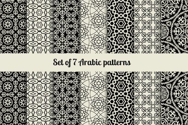 Modelli in stile arabo bianco e nero Vettore Premium