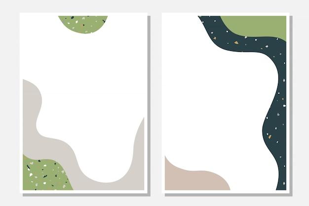 Modelli moderni con forme astratte e texture terrazzo. Vettore Premium