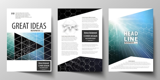 Modelli per brochure, riviste, volantini o report. Vettore Premium